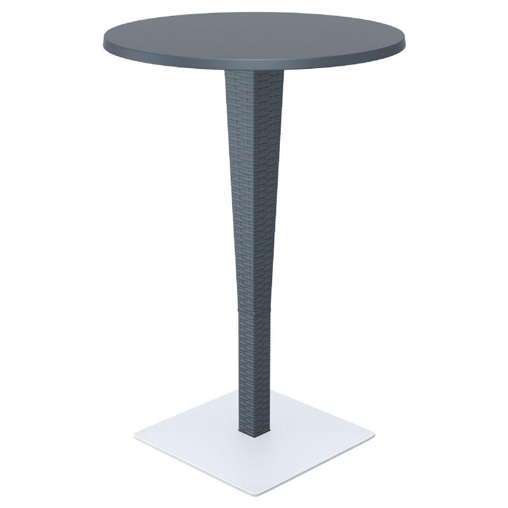 Riva Wickerlook Resin Round Bar Table Dark Gray 28 Inch. ISP886 DG