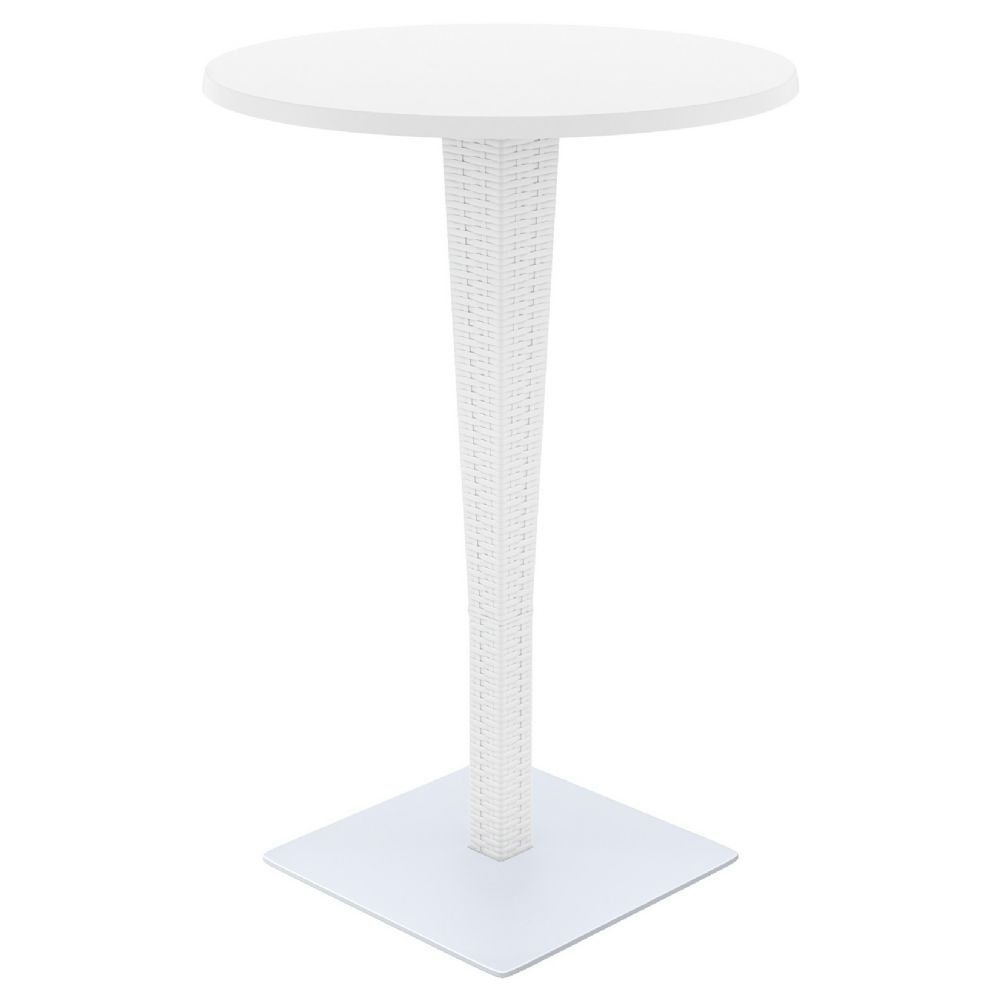 Riva Wickerlook Resin Round Bar Table White 28 Inch Isp886 Wh