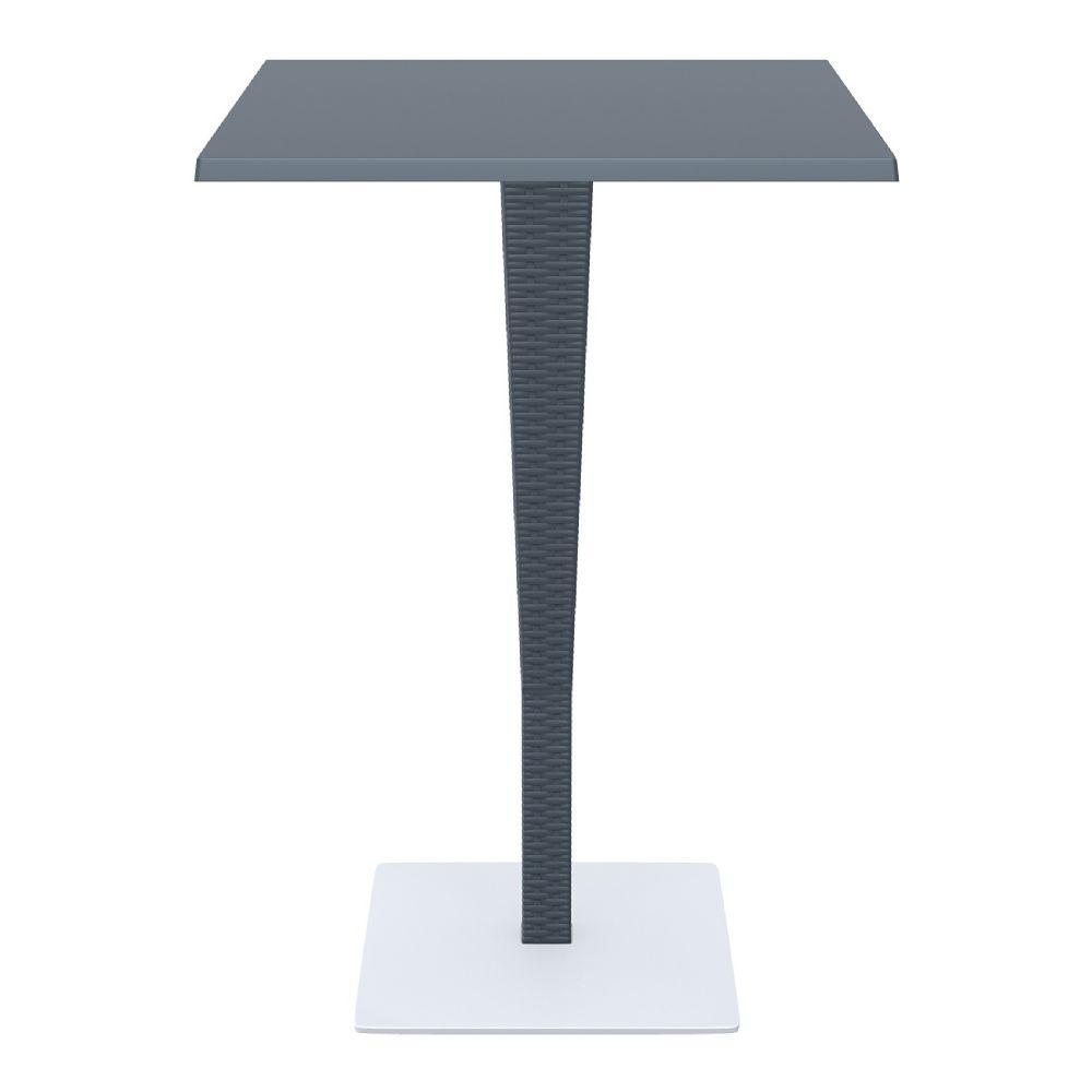 Riva Wickerlook Resin Square Bar Table Dark Gray 28 Inch.