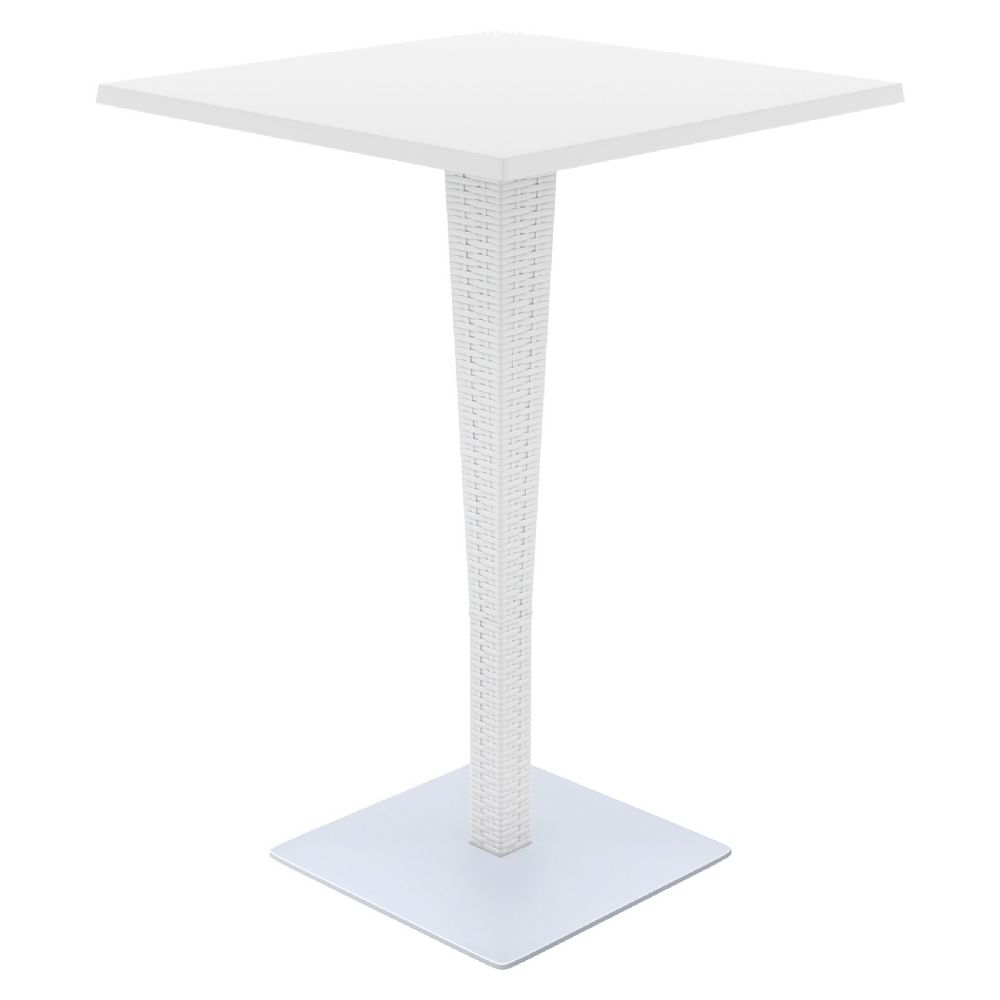 Riva Wickerlook Resin Square Bar Table White 28 inch. ISP888-WH