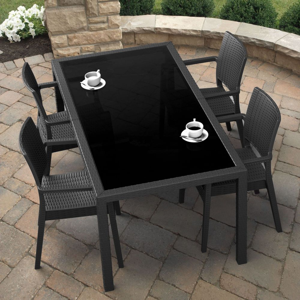Miami Wickerlook Resin Patio Dining Set 5 Piece Rectangle Dark Gray ISP995S-DG