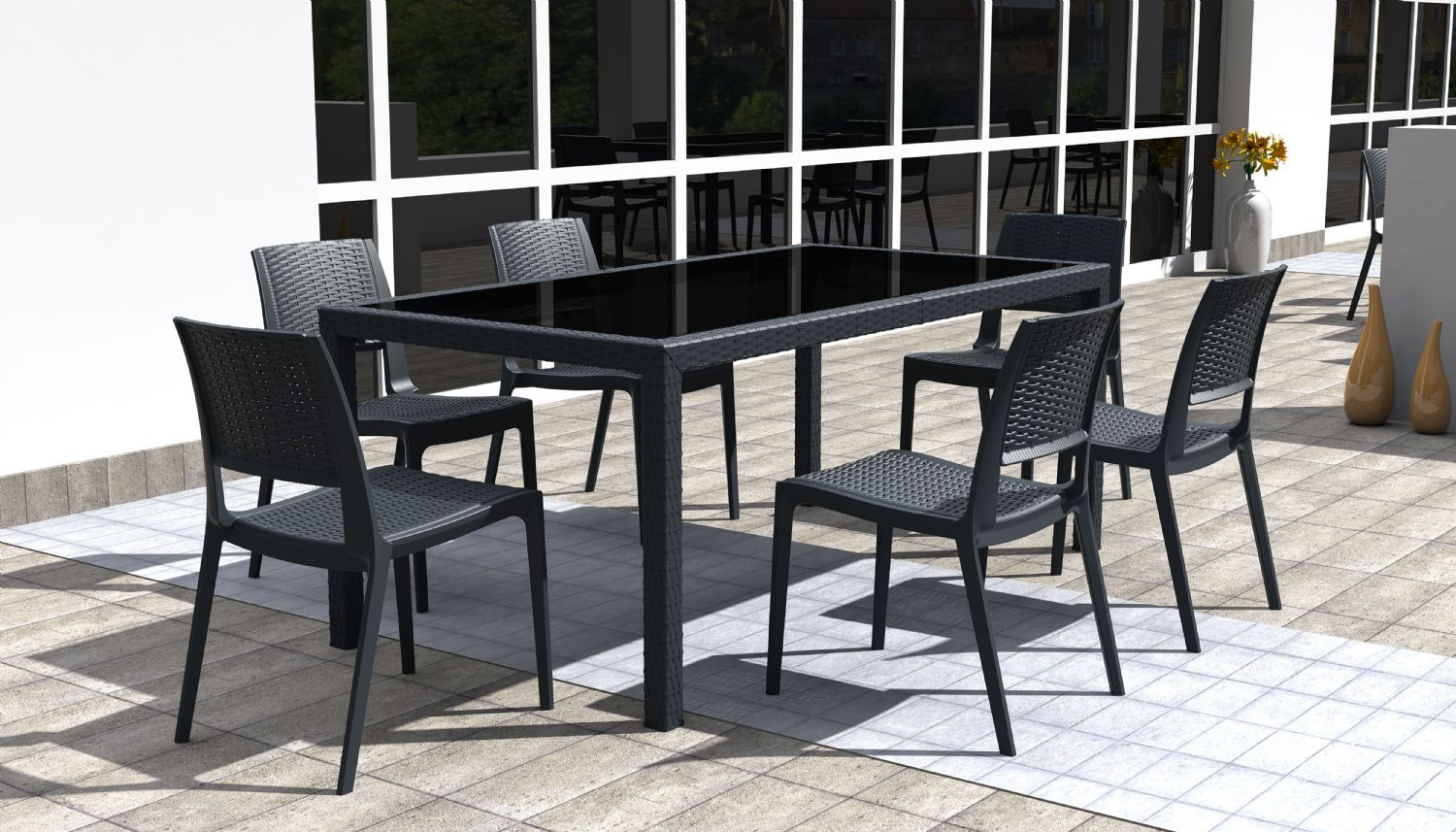 Miami Wickerlook Rectangle Dining Set 7 Piece White ISP997S-WH - 3